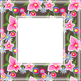 Floral dark border. Abstract border with pink floral pattern on a dark background Royalty Free Stock Photography