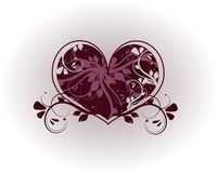 Floral dark purple heart Royalty Free Stock Image