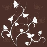 Floral decor with batterfly, silhouette Royalty Free Stock Image
