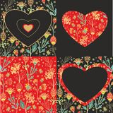 Floral decor with hearts Royalty Free Stock Photography