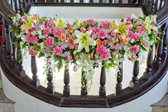 Floral decorate in handrail of stairs at the wedding Royalty Free Stock Photos