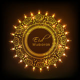 Floral decorated beautiful frame for Eid Mubarak celebration. Royalty Free Stock Image