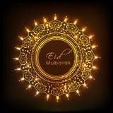 Floral decorated beautiful frame for Eid Mubarak celebration. Royalty Free Stock Image