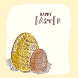 Floral decorated eggs for Happy Easter celebration. Happy Easter celebration greeting card with shiny floral design decorated eggs Stock Image