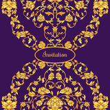 Floral decorated invitation card with antique, luxury violet and gold vintage ornament, victorian banner, damask baroque. Style booklet, fashion pattern Stock Image