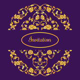 Floral decorated invitation card with antique, luxury violet and gold vintage ornament, victorian banner, damask baroque. Style booklet, fashion pattern Royalty Free Stock Photography