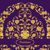 Floral decorated invitation card with antique, luxury violet and gold vintage ornament, victorian banner, damask baroque. Style booklet, fashion pattern Stock Images