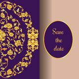 Floral decorated invitation card with antique, luxury violet and gold vintage ornament, victorian banner, damask baroque. Style booklet, fashion pattern Royalty Free Stock Image