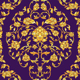Floral decorated invitation card with antique, luxury violet and gold vintage ornament, victorian banner, damask baroque. Style booklet, fashion pattern Stock Photo