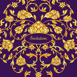 Floral decorated invitation card with antique, luxury violet and gold vintage ornament, victorian banner, damask baroque. Style booklet, fashion pattern Stock Photos
