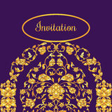 Floral decorated invitation card with antique, luxury violet and gold vintage ornament, victorian banner, damask baroque. Style booklet, fashion pattern Royalty Free Stock Photos