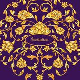 Floral decorated invitation card with antique, luxury violet and gold vintage ornament, victorian banner. Damask baroque style booklet, fashion pattern Stock Image
