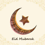 Floral decorated moon and star for Eid Mubarak celebration. Royalty Free Stock Images
