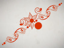 Floral decorated orange colour Tattoo design. Royalty Free Stock Image