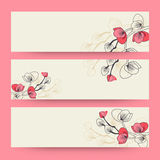 Floral decorated web banner or header design. Stock Photos