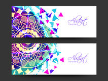 Floral decorated website header or banner set. Stock Image