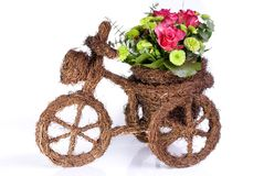 Floral decoration. In the shape of a bicycle stock photo