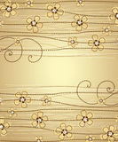 Floral decoration. The light brown background floral decoration 2 Royalty Free Stock Images