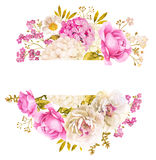 Floral decoration background wreath. Floral decoration background with roses and hydrangea Royalty Free Stock Photo