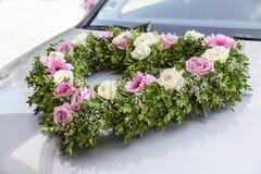 Floral decoration for bridal car Stock Images