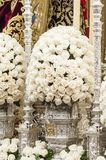Floral decoration. Detail of the floral decoration of the float of pallium of the brotherhood of `Los Estudiantes Stock Images