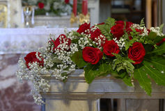 Floral decoration. A floreal decoration for weddings in a church Stock Photo