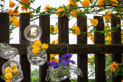 Floral decoration at the garden gate Stock Image