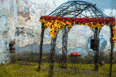 Floral decoration on garden house Stock Photography