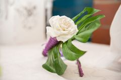 Floral decoration for groom suite royalty free stock image