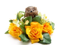Floral decoration with hedgehog Stock Image