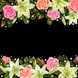 Floral decoration. Illustration of floral borders with roses, white lily flowers and pearl decoration on black background Stock Photos
