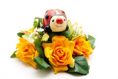 Floral decoration with ladybug Royalty Free Stock Photos