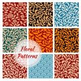 Floral decoration ornament seamless patterns set Stock Photo