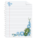 Floral decoration on paper. Empty editable page with floral decoration Stock Photography