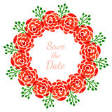 Floral decoration with roses. vector watercolor wreath. Design for invitation, wedding or greeting cards. Save the date Stock Image