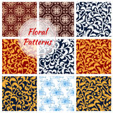 Floral decoration seamless patterns set. Floral patterns set. Decor seamless flourish ornate background with flowery damask and arabesque ornament. Luxury flower Royalty Free Stock Photos
