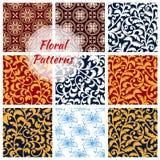 Floral decoration seamless patterns set Royalty Free Stock Photos