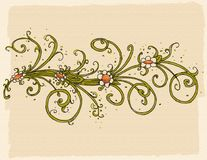 Floral decoration with spirals and daisies pattern, fabric, repeating pattern Royalty Free Stock Photos