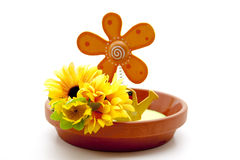Floral decoration in under plate Stock Photo