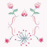 Floral decorational pink frame Royalty Free Stock Image