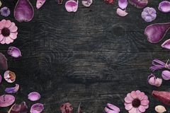 Floral decorations on black wooden desk with free space for text Stock Images