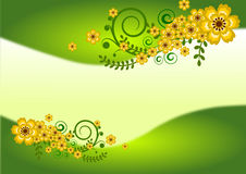 Floral decorations border. In green gradations illustration Royalty Free Stock Photo