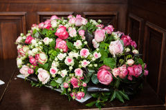 Floral decorations. With different sorts of flowers, roses, tulips, and others Stock Photo