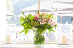 Floral decorations. With different sorts of flowers, roses, tulips, and others Royalty Free Stock Photography