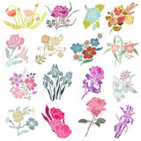 Floral decorations set Royalty Free Stock Photography