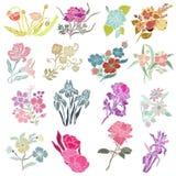 Floral decorations set. 16 elegant decorative flowers, design elements. Floral branches. Floral decorations for vintage wedding invitations, greeting cards vector illustration