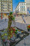 Floral decorations that symbolize one human form in Victory Square. TIMISOARA, ROMANIA - APRIL 27, 2018: Beautiful street floral decorations that symbolize one royalty free stock photos