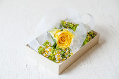 Floral decorations for wedding. In a box Stock Photos