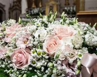 Floral decorations at the wedding ceremony. Assorted Ideas for Florals used in the wedding ceremony either inside. Floral arrangements, Flower arrangements and Royalty Free Stock Photography