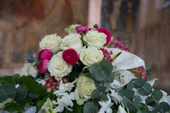 Floral decorations at the wedding ceremony. Assorted Ideas for Florals used in the wedding ceremony either inside. Floral arrangements, Flower arrangements and Stock Photo